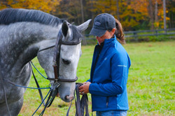 EMBRACE THE RACE Grey Horse and Woman