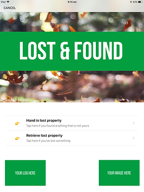 Screen shot of lost and found page