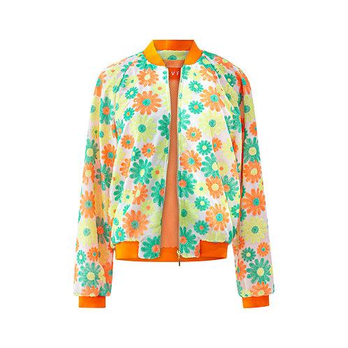 Floral bomber jacket - green/orange