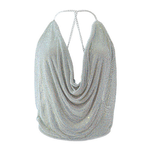 Crystal net top - silver