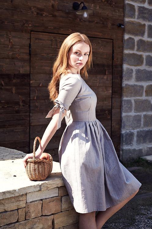 Béžové lněné šaty Fausta
