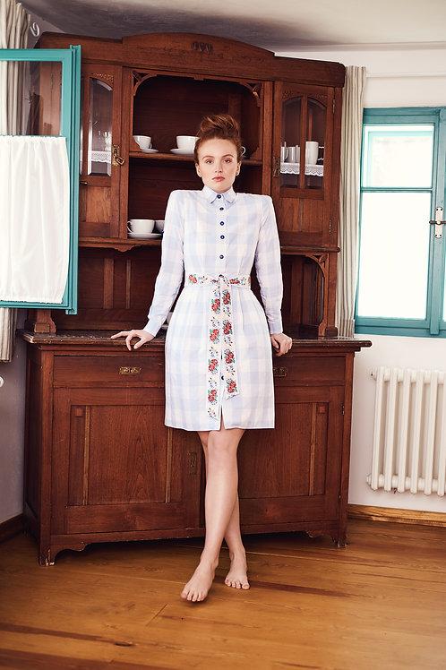 Světle modré kostkované košilové šaty Edita