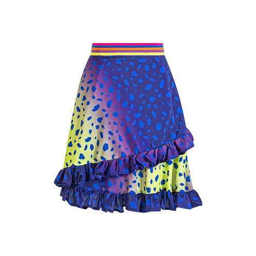 Ruffled skirt animal print purple
