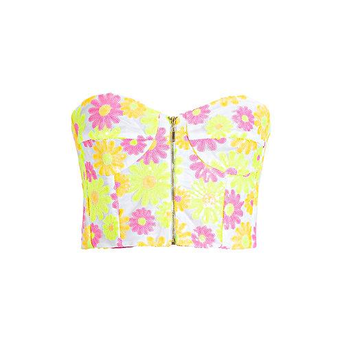 Flower power crop top - pink/yellow
