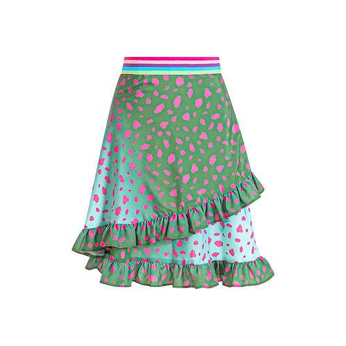 Ruffled mini skirt animal print green