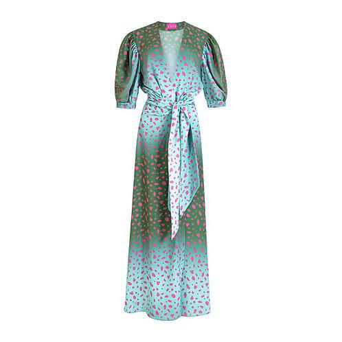 Animal print dress - green/pink
