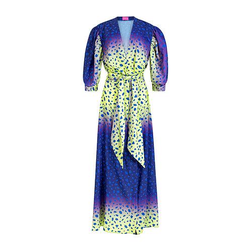 Animal print dress - purple/yellow