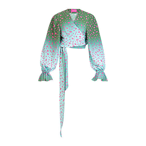 Wrap blouse green/pink animal print