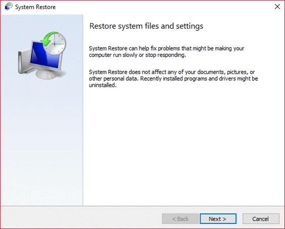Restore registry with restore point
