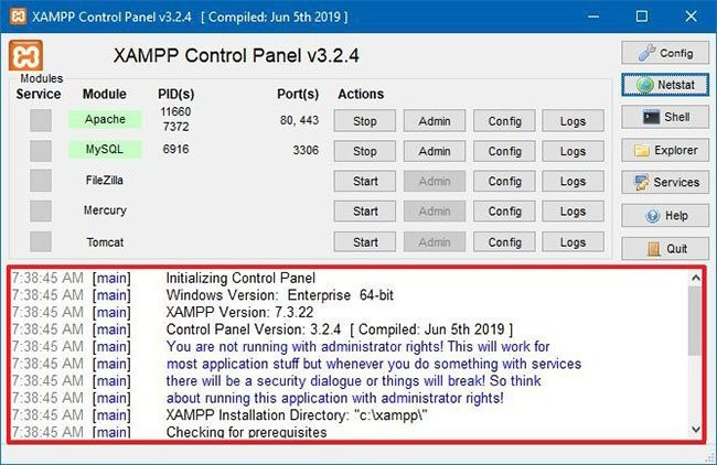 XAMPP Control Panel Logs