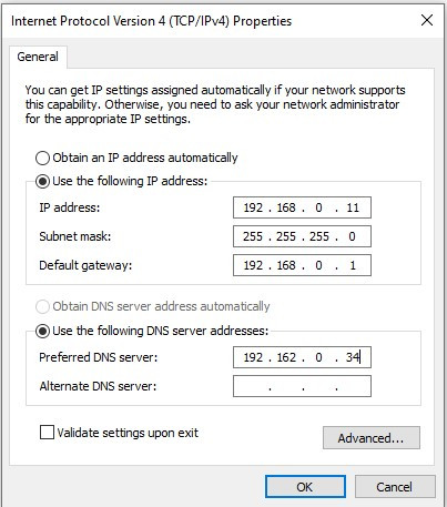 Figure A: The DNS server option of the selection is defined as part of the TCP/ IP configuration on the computer.