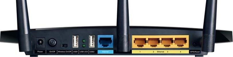 Figure B : TP-Link Archer C7 AC1750 back panel contains a set of  RJ-45 ports like a hub or switch