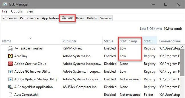 Disable unnecessary startup items