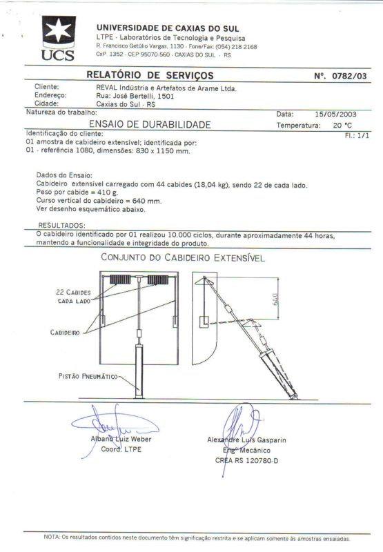 Laudo -Ensaio de Durabilidade x Carga - Cabideiros Extensíveis REVAL