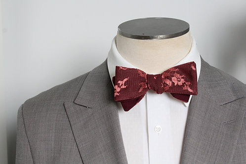 Wedding Bow Tie - Burgundy and Rose Lace