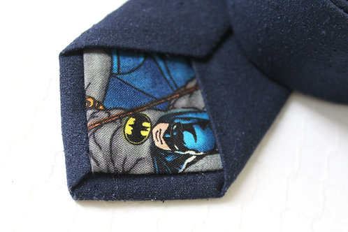 Navy Raw Nub Silk with BATMAN lining