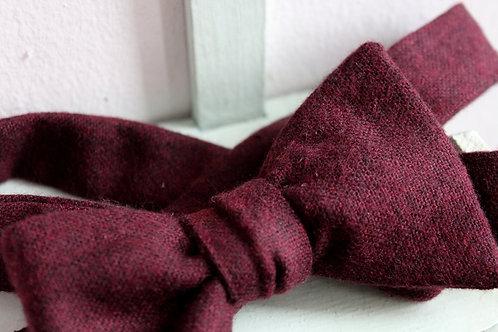 Italian Merino Wool Burgundy Bowtie