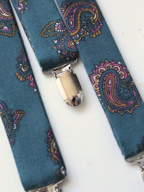 Soft Teal Cotton Paisley Suspenders with Leather