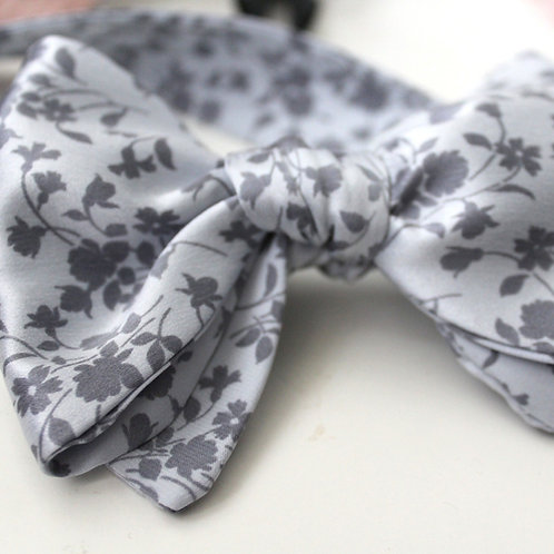 Ice Blue Floral Pure Silk Oversized Bow Tie