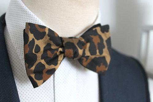 Leopard Print Silk Bow Tie