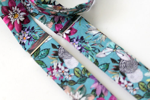Dusty Blue and Purple Floral Suspenders
