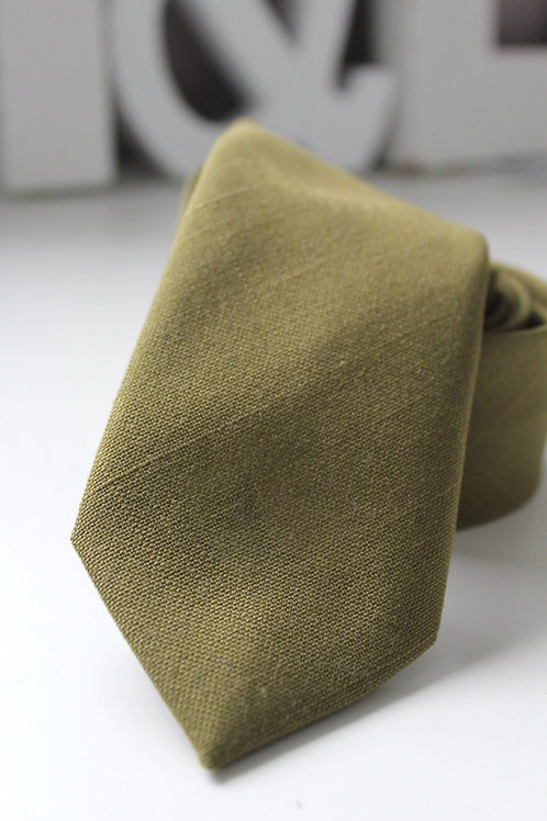 Necktie-Olive Green Linen