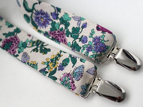 Floral Liberty Linen Suspenders
