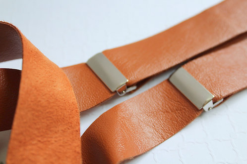 Caramel Leather Suspenders