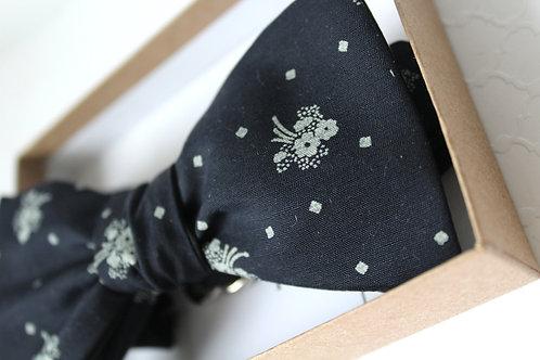 Dark Navy Floral & Dot Bowtie