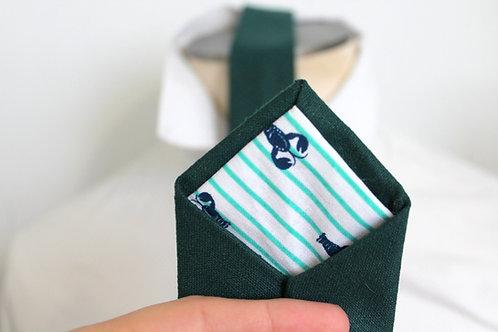 Forest Green Silk Necktie with Lobster Lining