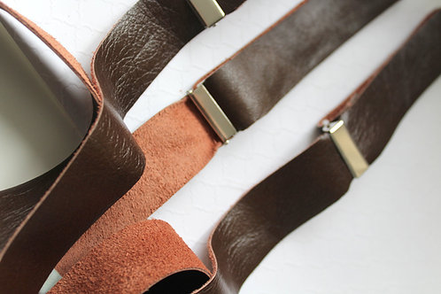 Chocolate Raw Leather Suspenders