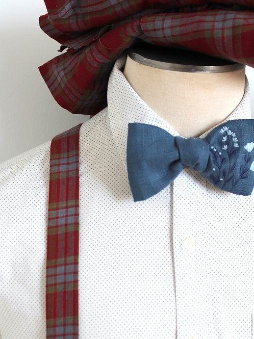 Plaid Rust and Dusty Blue Wool Linen Suspenders