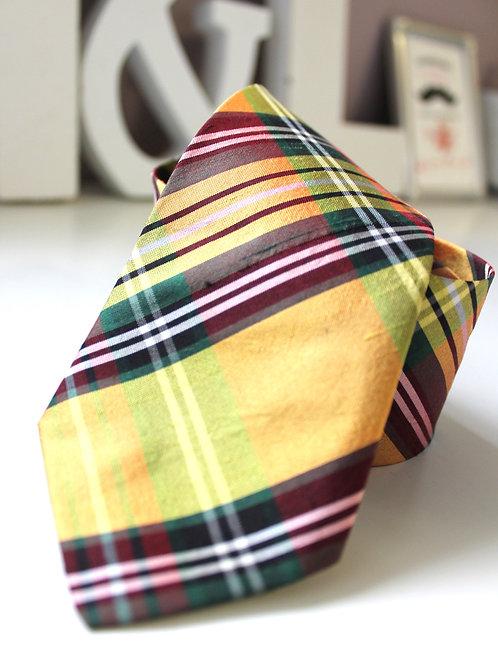 Necktie in Yellow Plaid Silk