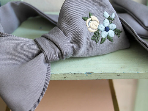 Floral Embroidered Steel Blue Bowtie