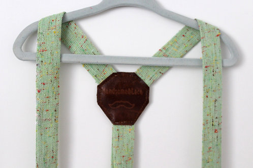 Mint Confetti Tweed  Suspenders