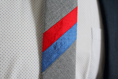 Red and Blue Stripe Grey Neck Tie