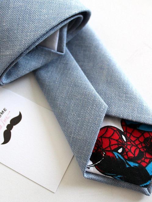 Dusty Blue Linen Silk Necktie with SPIDERMAN Lining