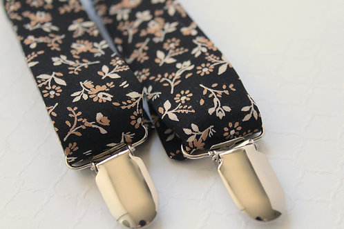 Black Floral Suspenders