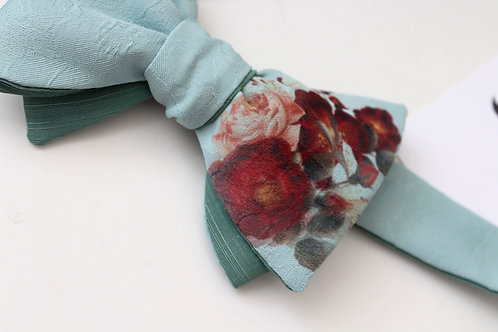 Handmade and pressed Mint&Floral Bow Tie