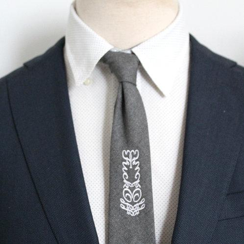 Swear Words Necktie in Heathered Grey