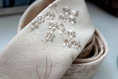 Wheat Silk Linen Floral Necktie