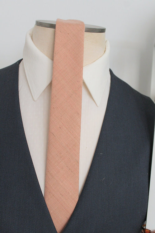Blush Raw Silk Neck Tie