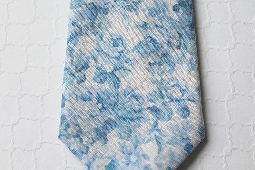 Dusty Blue Floral Cotton Neck Tie