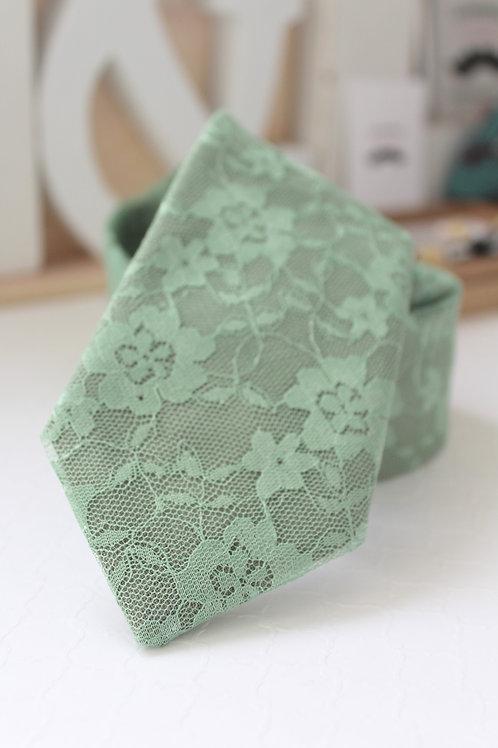 Mint Sage Floral Lace Neck Tie