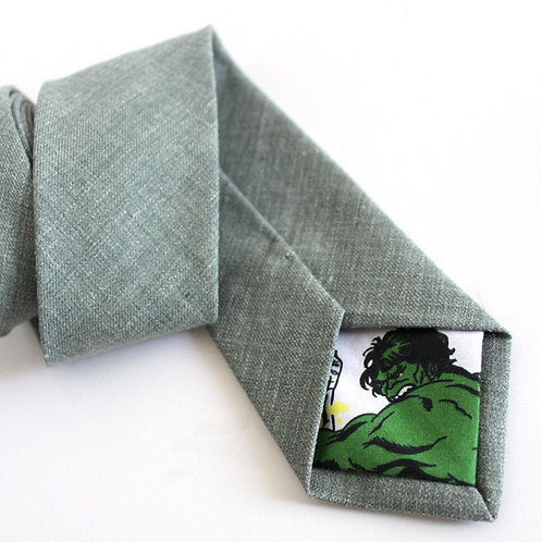 Teal Sage Green Silk Linen Blend Necktie with HULK Lining