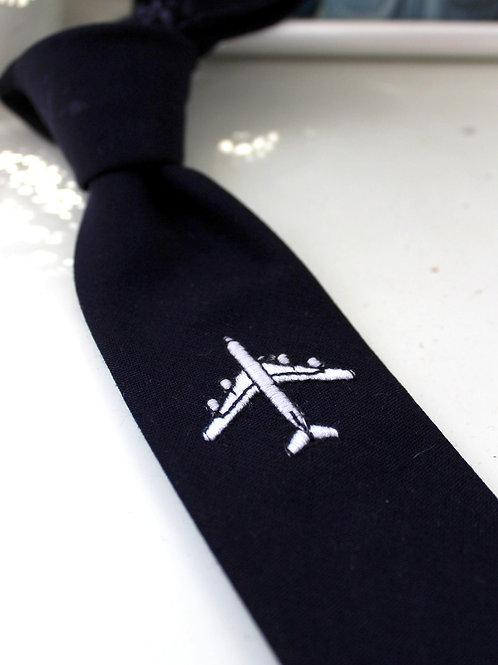 Airplane Embroidered Navy Necktie
