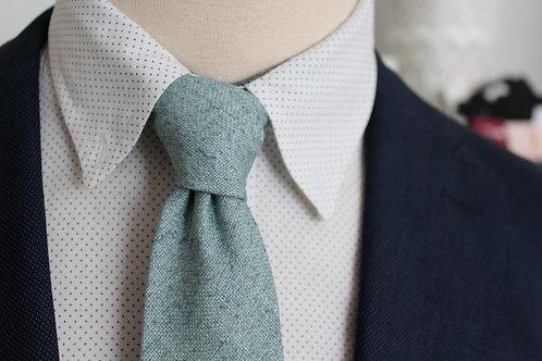 Dusty Blue Raw Silk Linen Necktie