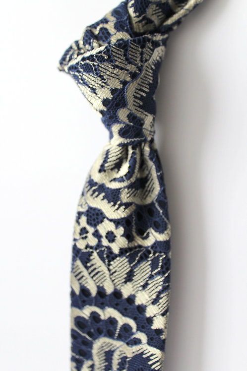 Navy and Gold Lace Neck Tie