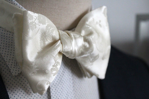 Floral Champagne Pure Silk Oversized Bow Tie