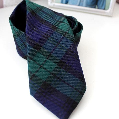 Green and Navy Tartan Batman Neck Tie